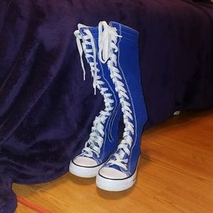Shoes - Blue mid calf sneakers